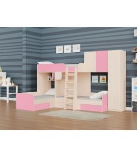 двухъярусная кровать Трио-2 дуб молочный / розовый
