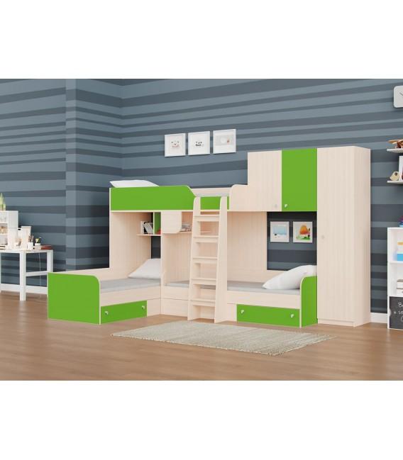 двухъярусная кровать Трио-2 дуб молочный / салатовый