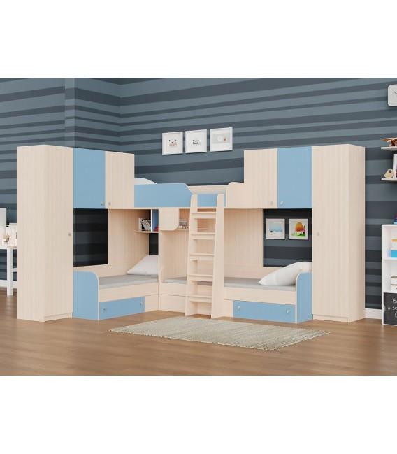 двухъярусная кровать Трио-3 дуб молочный / голубой