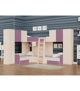 двухъярусная кровать Трио-3 дуб молочный / фиолетовый