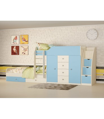 двухъярусная кровать Астра-6 СТ цвет дуб молочный / голубой