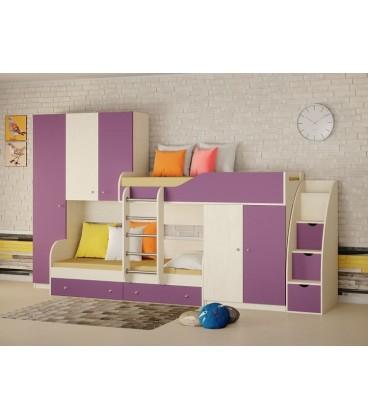 двухъярусная кровать Лео СТ цвет дуб молочный / фиолетовый