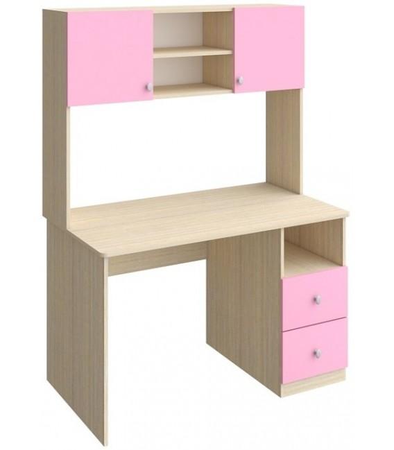 стол + надстройка стола Астра дуб молочный / розовый